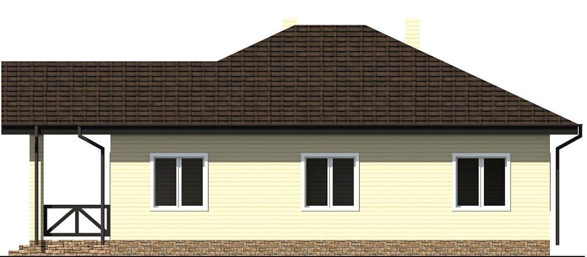 Лунный сад B-286. Проект одноэтажного дома с террасой, на 3 спальни