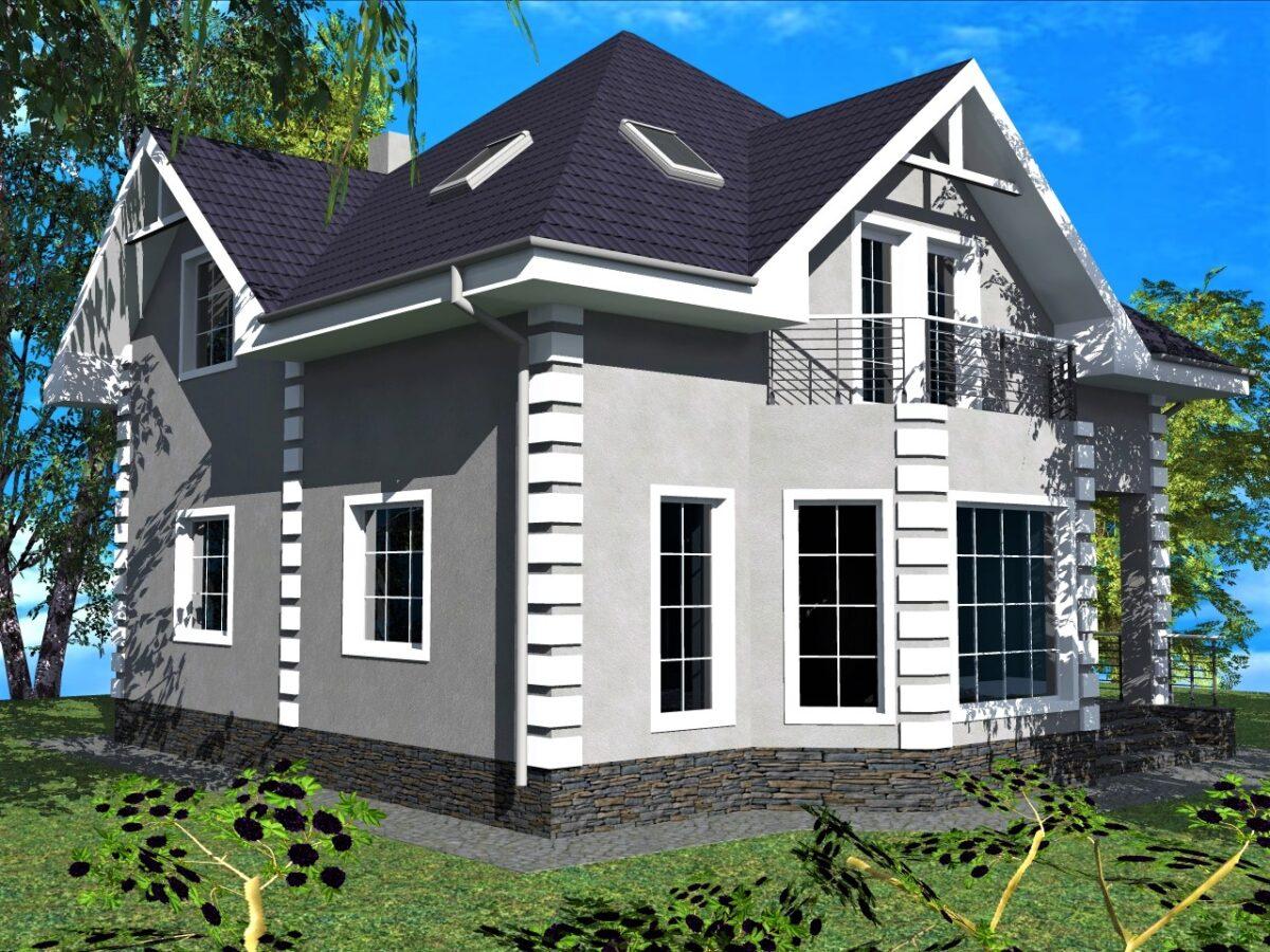 Лунный свет B-041. Одноэтажный дом с мансардой на три спальни, с балкноном, гостиная с эркером
