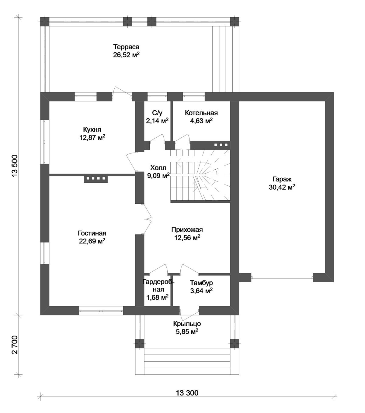 Маркер D-122. Проект одноэтажного с мансардой дома с тремя спальнями, террасой, пристроенным гаражом