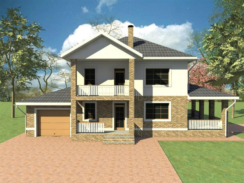 Маруф D-123. Проект функционального двухэтажного коттеджа на 4 спальни, с террасой и пристроенным гаражом
