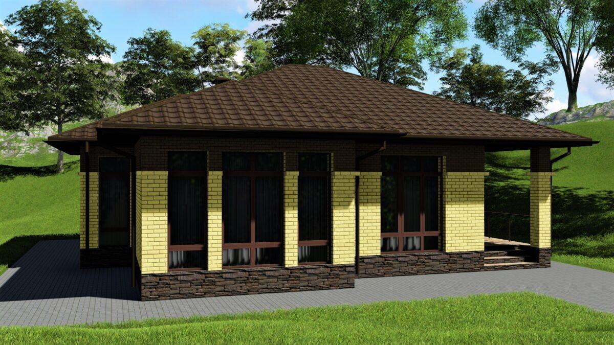 Мичиган B-020 с видеообзором. Проект одноэтажного дома с двумя спальнями, террасой