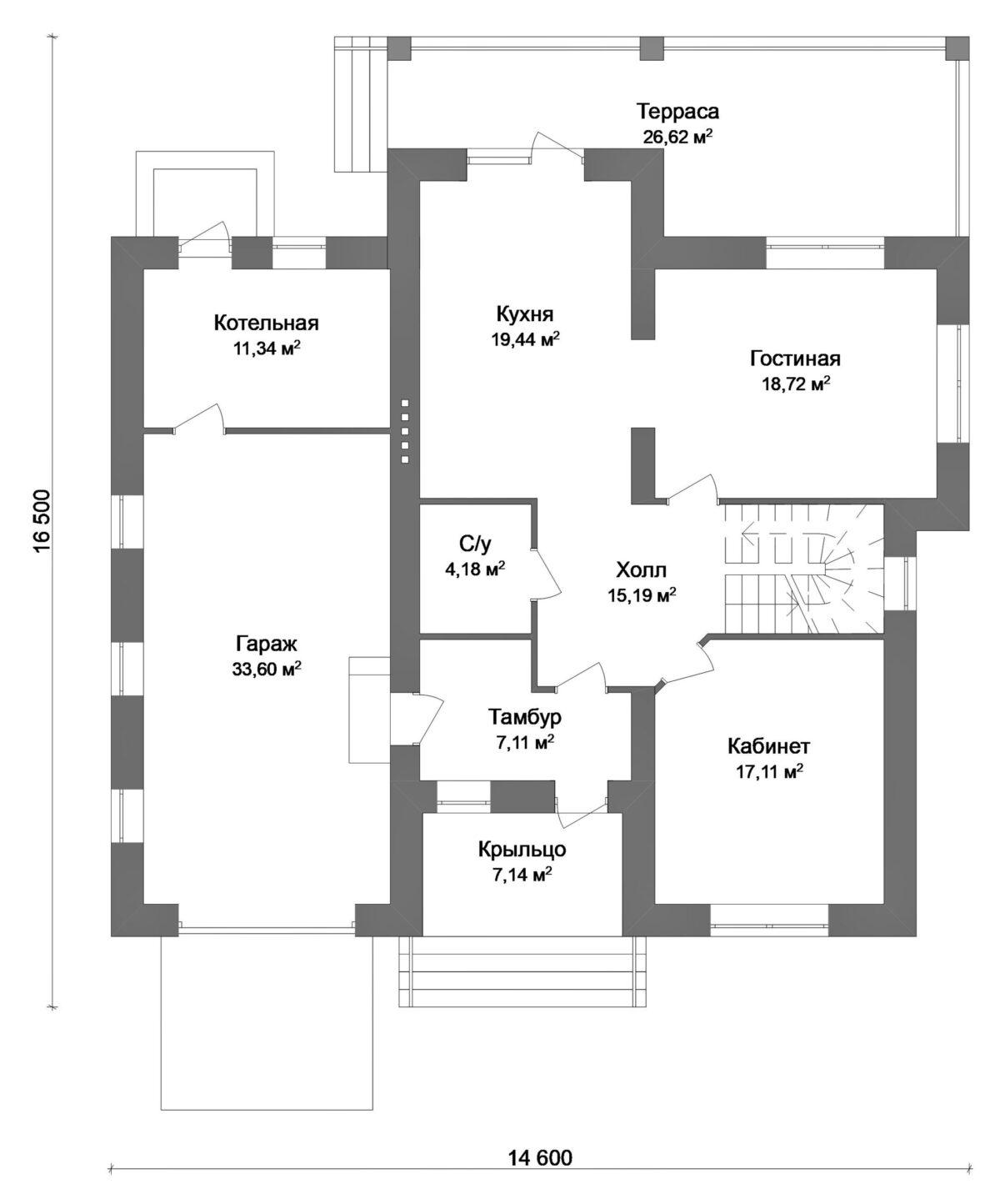 Мирикал D-026. Проект красивого двухэтажного дома на 3 спальни, с гаражом, террасой