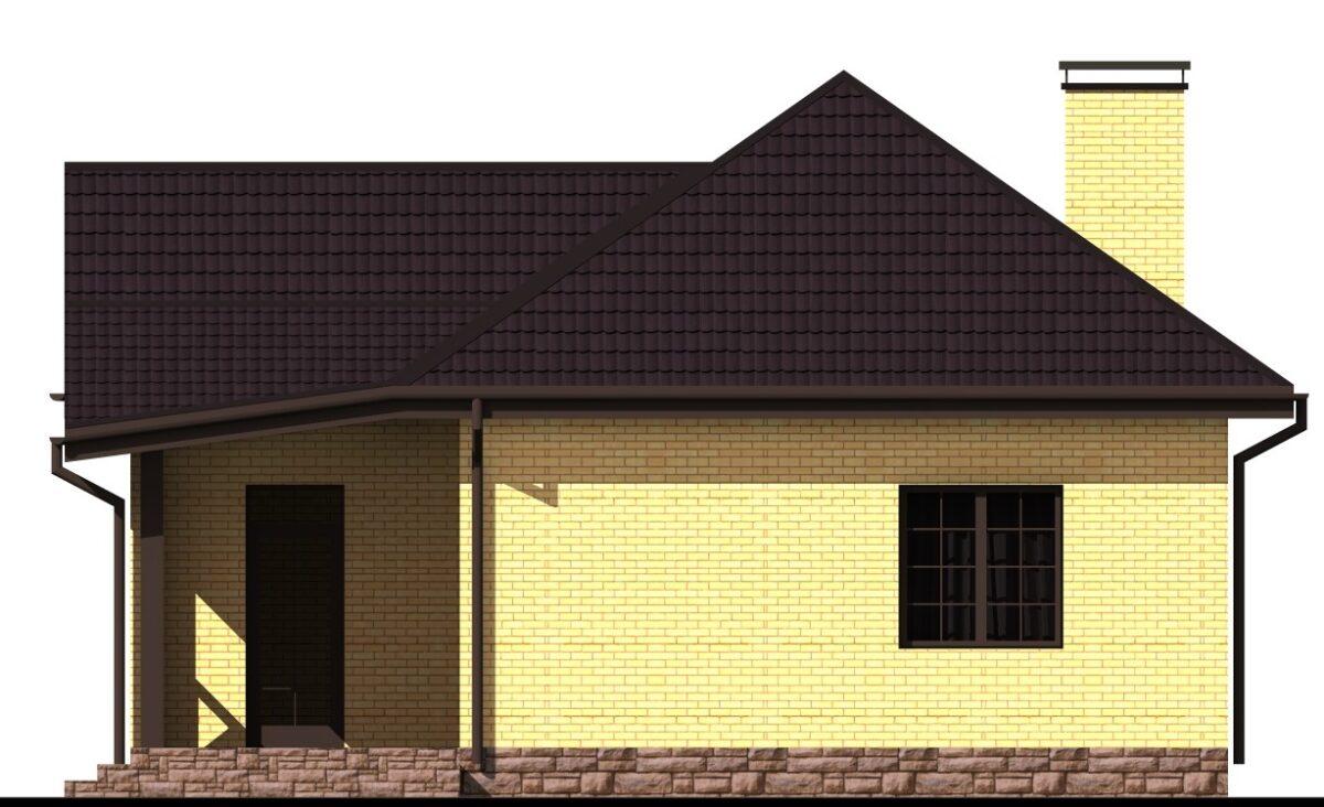 Могучий Дуб B-017 с видеообзором. Проект одноэтажного дома на 2 спальни, с террасой, гаражом, подвалом