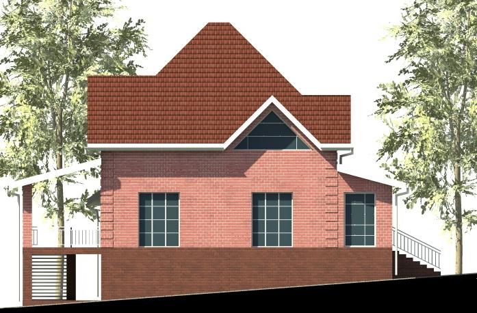 Монте Кристо E-004. Проект мансардного коттеджа на 4 спальни, с цокольным этажом, гаражом и террасой