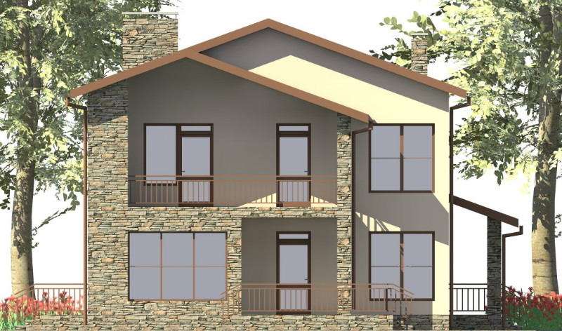 Нод C-055. Проект двухэтажного дома с балконом и террасой