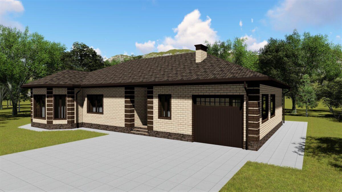 Опричник D-125. Проект одноэтажного дома с гаражом и террасой, на 3 спальни