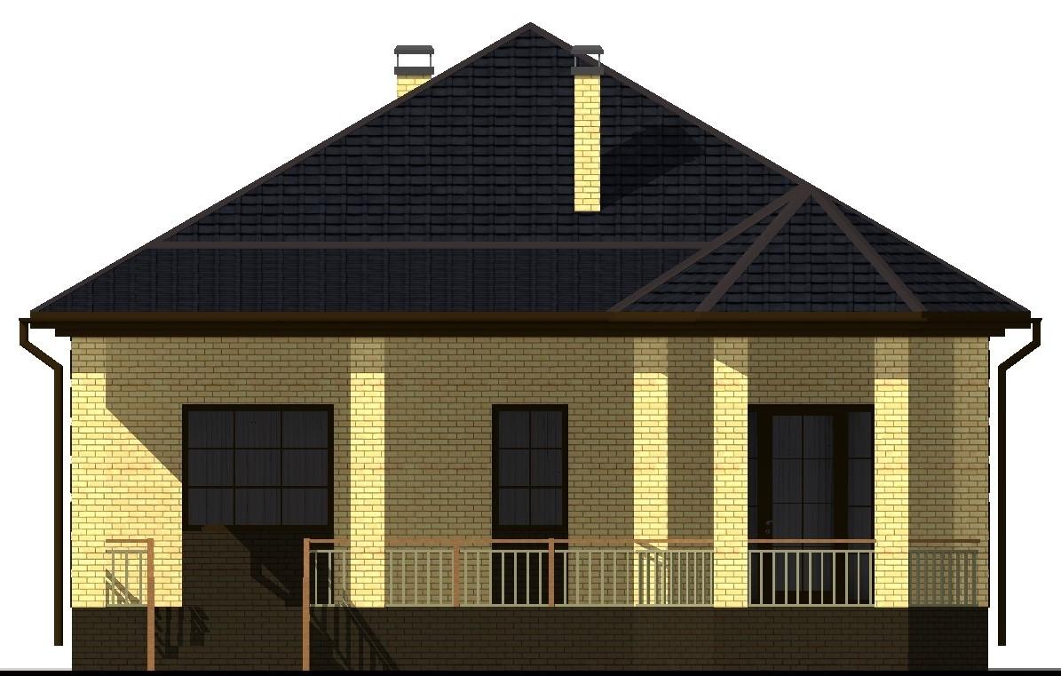 Орегон B-018. Проект одноэтажного загородного коттеджа на 2 спальни, с террасой