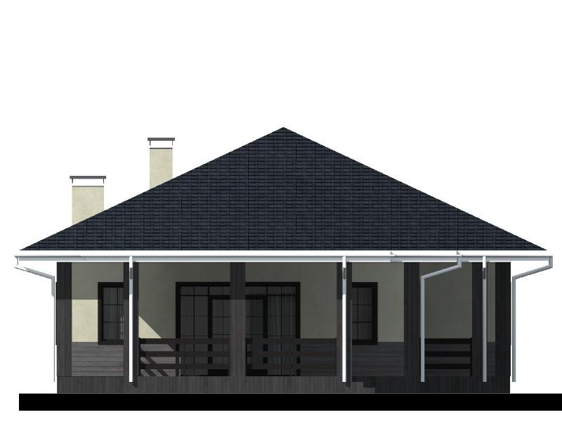 Орландо C-027. Проект одноэтажного дома с террасой, на две спальни, с кабинетом