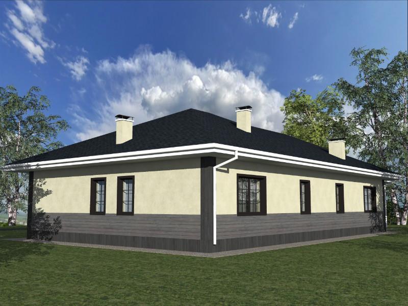 Орландо C-027. Проект одноэтажного дома с террасой, на две спальни, с кабинетомОрландо C-027. Проект одноэтажного дома с террасой, на две спальни, с кабинетом