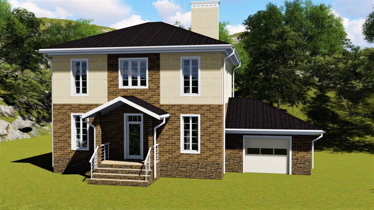 Пирс C-028. Проект двухэтажного дома на две спальни, с пристроенным гаражом