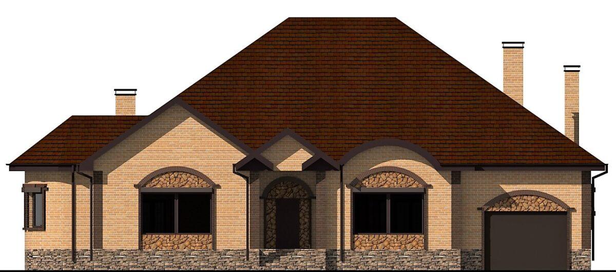 Платинум F-084. Проект одноэтажного коттеджа на три спальни, с большой террасой, бассейном, гаражом