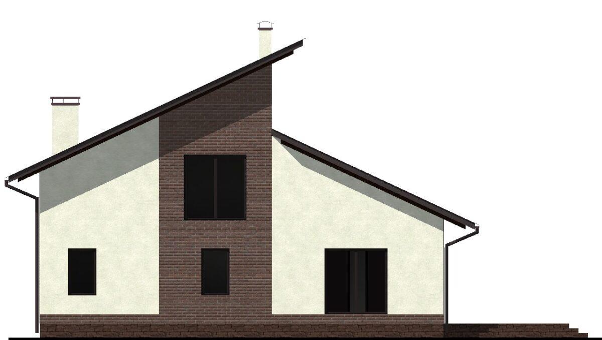 Премьера D-008. Готовый проект мансардного коттеджа с террасой и тремя спальнями