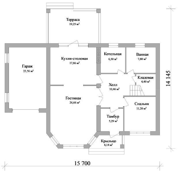 Престиж D-129. Двухэтажный дом с четырьмя спальнями, гаражом и террасой