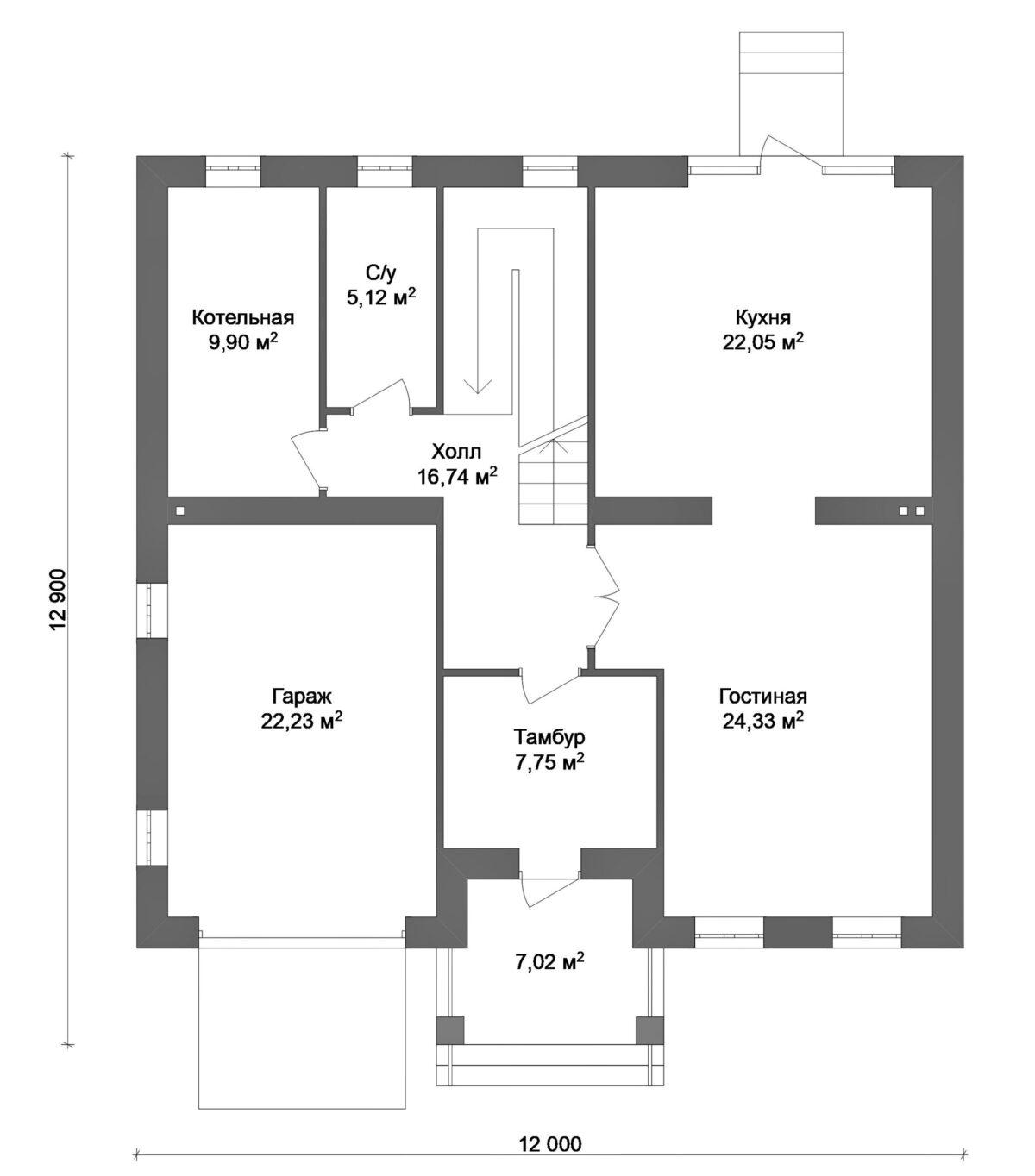 Престол D-024 с видеообзором. Проект двухэтажного дома на 3 спальни, с гаражом