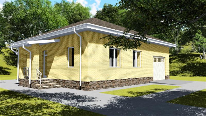 Причал B-056. Проект функционального одноэтажного дома с гаражом, летней кухней, на 2 спальни