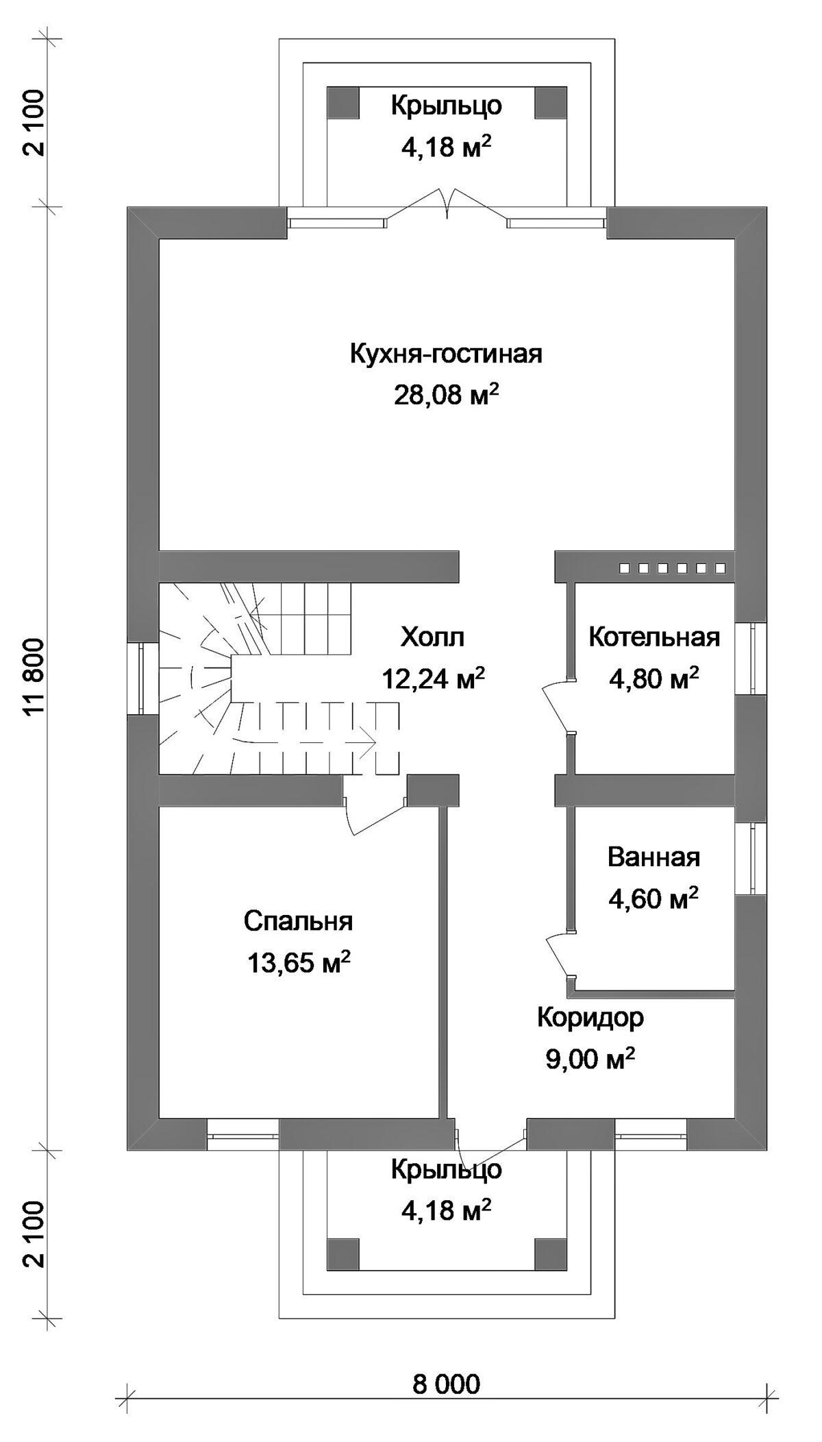 Призма C-017 с видеообзором. Проект небольшого двухэтажного дома на 4 спальни