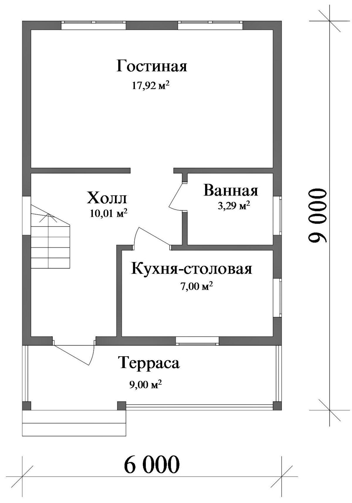 Рагнар A-007. Проект одноэтажного дома до 100 кв.м с мансардой и террасой