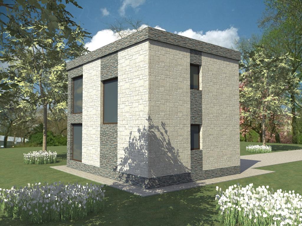 Ратник B-272. Проект современного дома на 2 спальни с плоской крышейРатник B-272. Проект современного дома на 2 спальни с плоской крышей