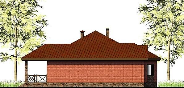 Red Winter C-252. Проект одноэтажного дома 14 х 18 м, на 3 спальни, с террасой