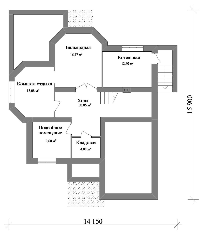 Самсон E-061. Проект двухэтажного дома на 3 спальни, с цокольным этажом, террасой, гаражом