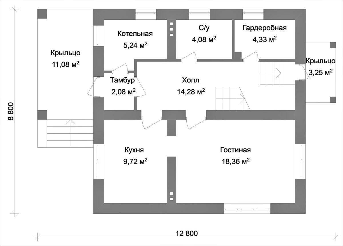 Сапфир B-014 с видеообзором. Проект мансардного дома на 3 спальни с террасой