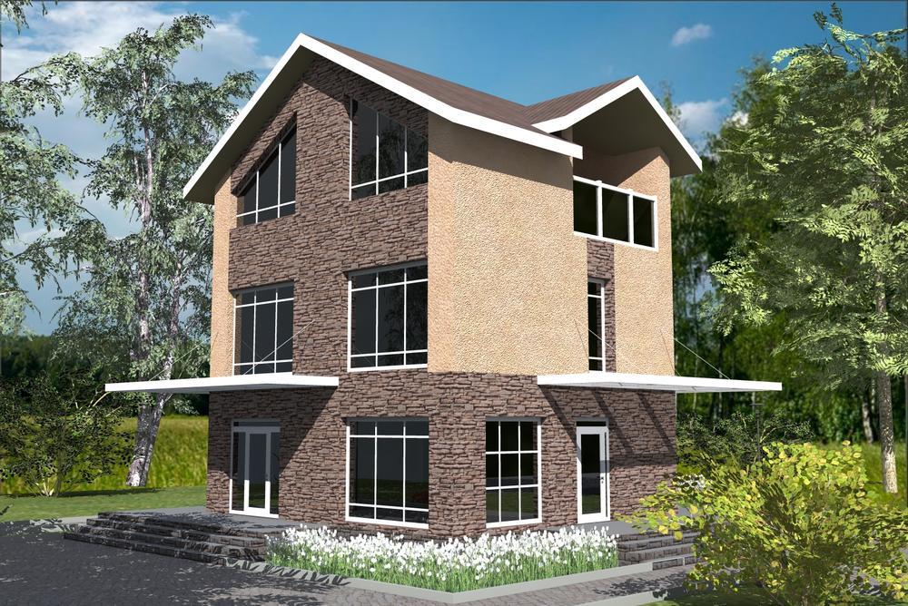 Седьмое небо C-245. Проект двухэтажного дома с мансардой, на 4 спальни, с двумя террасами и балконом