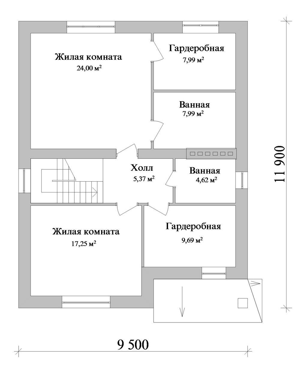 Сенатор C-246. Проект дома с мансардой, на 3 спальни, с террасой