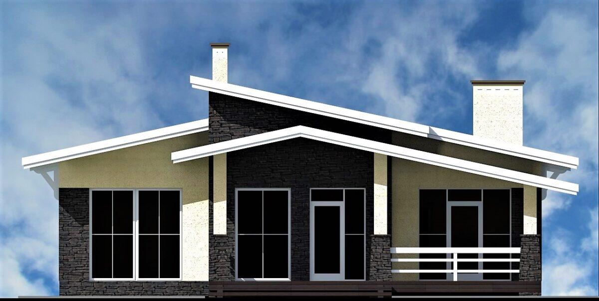 Северный парк C-257 с видеообзором. Проект одноэтажного дома до 200 кв. м на 3 спальни с большой террасой