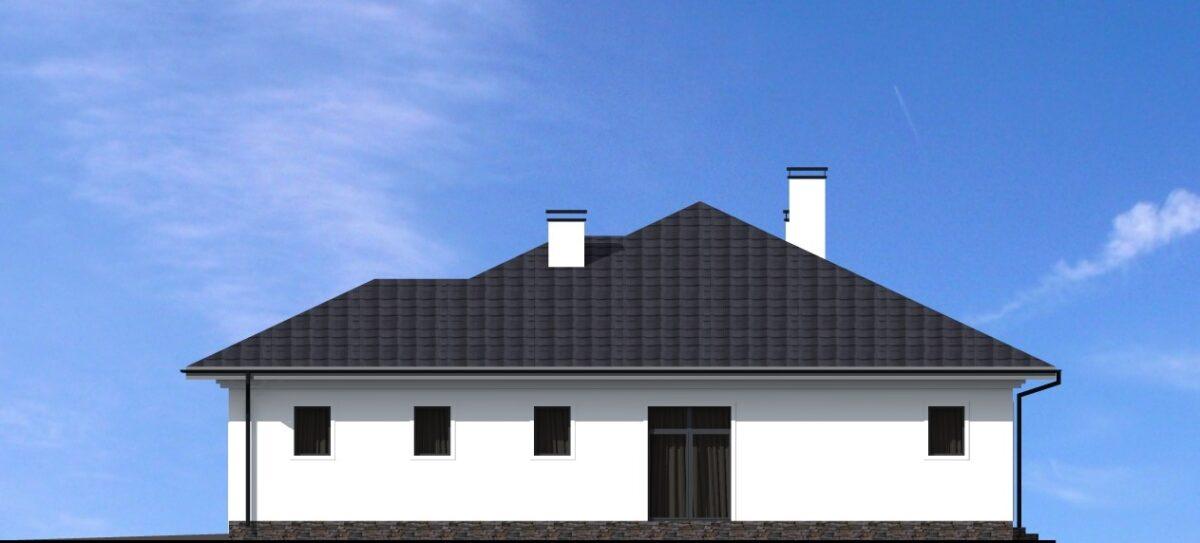Синдикат E-006 с видеообзором. Проект одноэтажного дома с гаражом, террасой, на 4 спальни