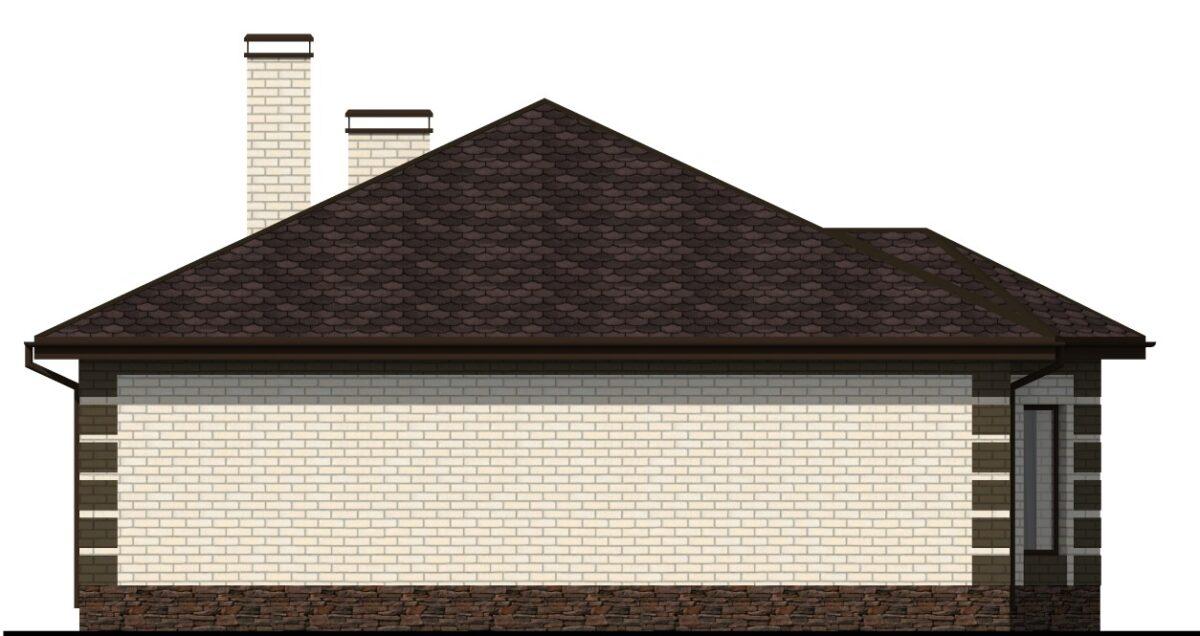 Синтез C-026 с видеообзором. Проект одноэтажного дома на 3 спальни с эркером в гостиной