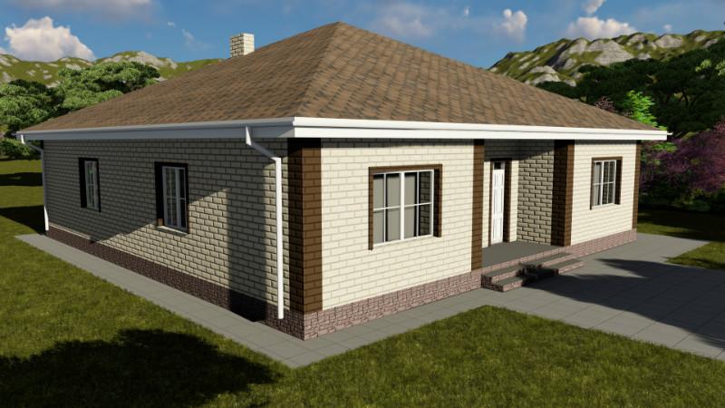 Сокол C-045. Одноэтажный дом с тремя спальнями и террасой