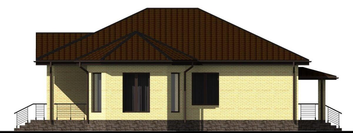Соломон B-015 с видеообзором. Проект одноэтажного дома на 3 спальни, с террасой и подвалом