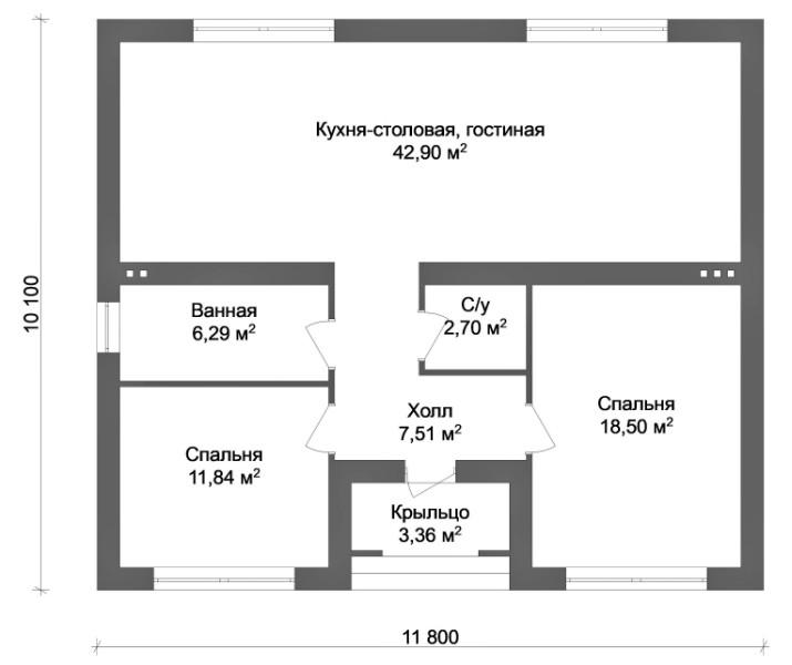 СОРТЕКС A-099. Проект небольшого уютного дома до 100 м2, на две спальни