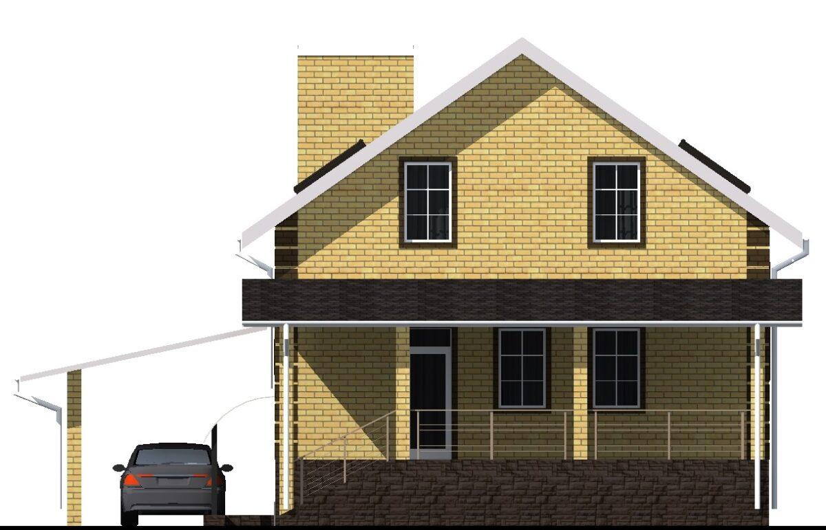 Спектр D-014. Проект мансардного дома на 4 спальни, с цокольным этажом и навесом для авто
