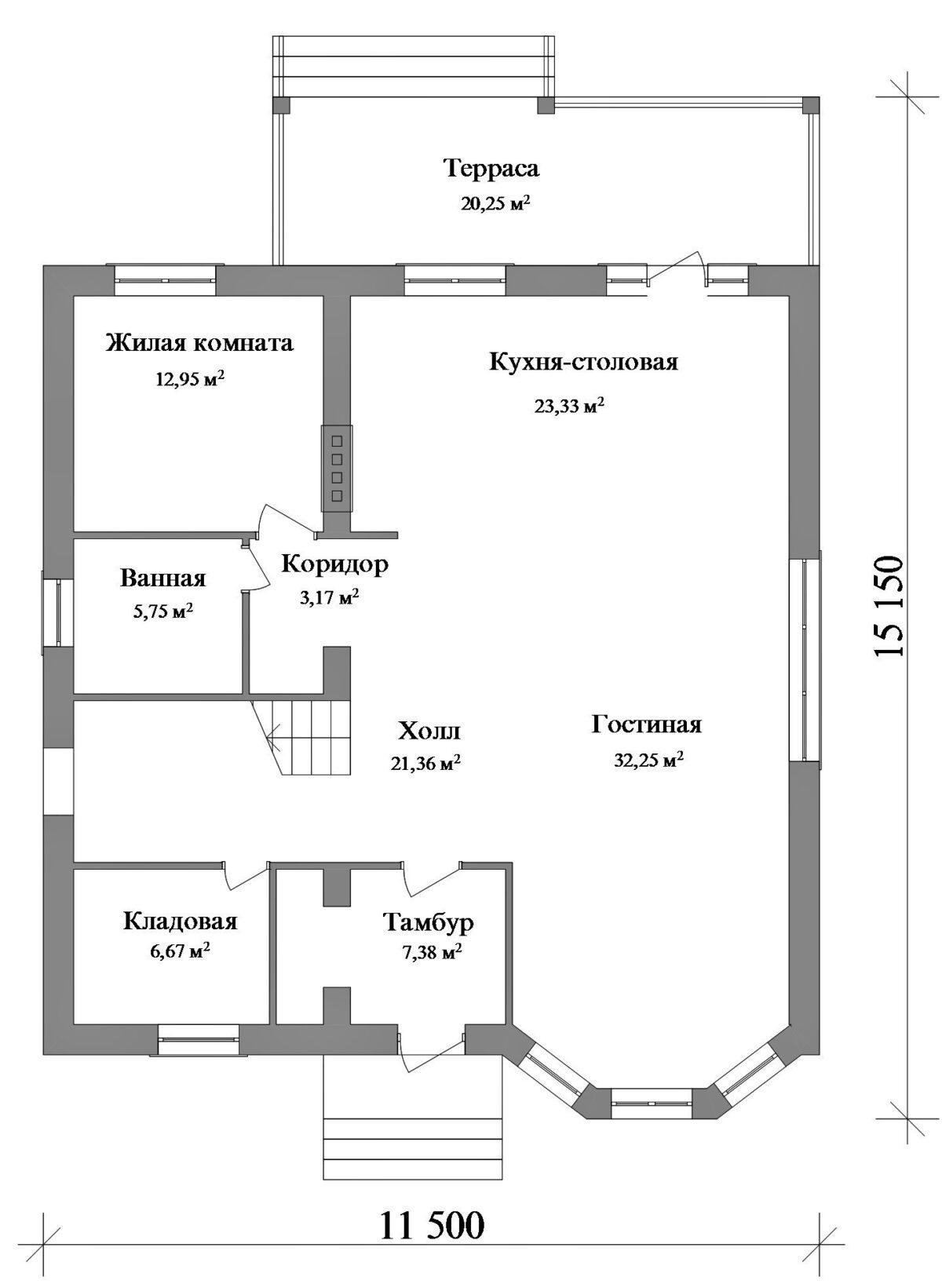 Старт D-023 с видеообзором. Проект мансардного коттеджа на 5 спален, с террасой