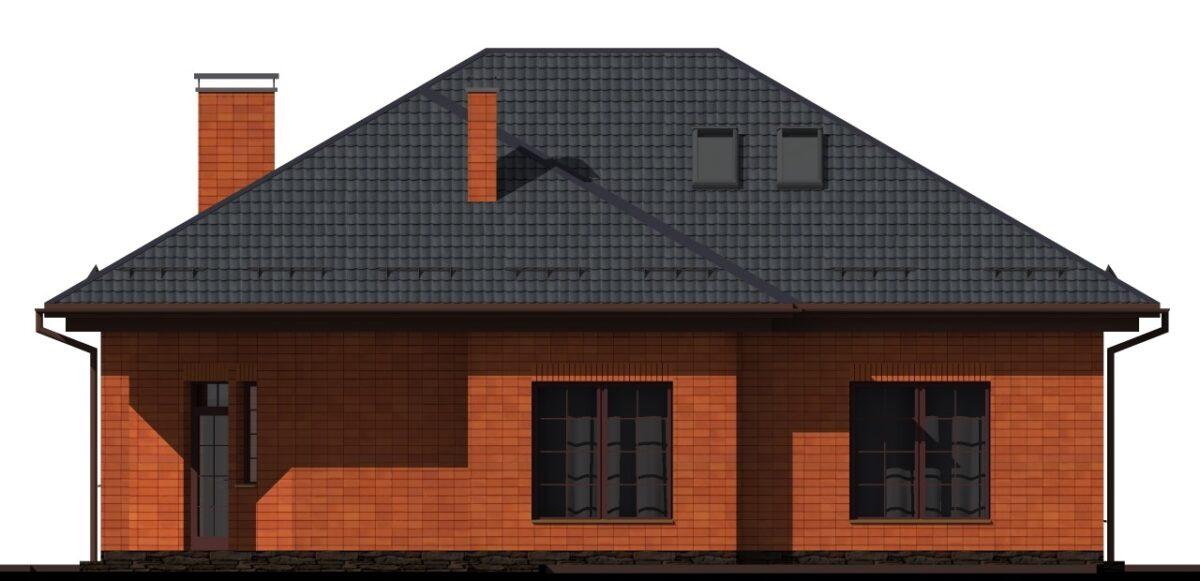 Стоун C-007 с видеообзором. Проект одноэтажного дома с террасой, на три спальни