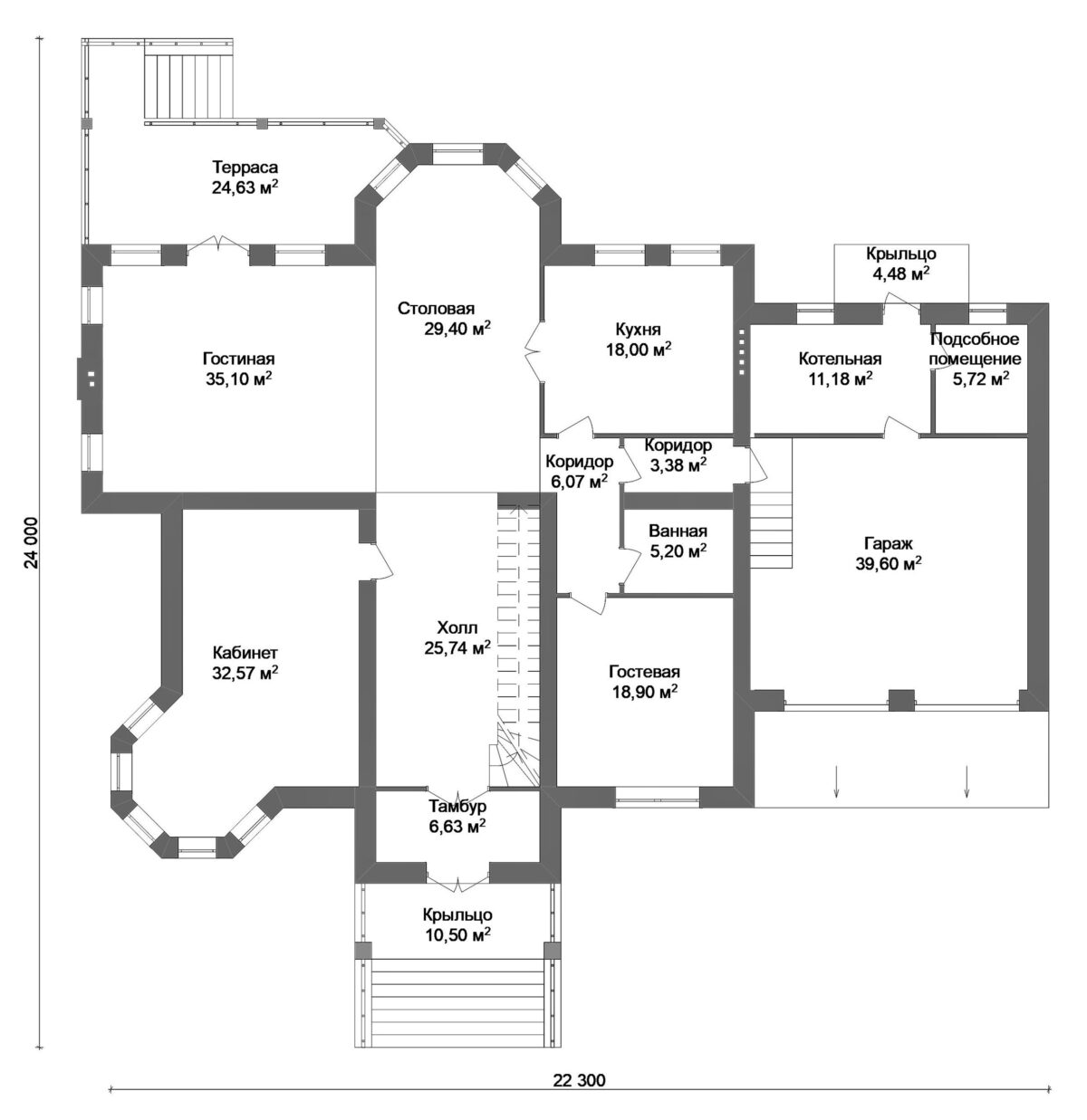 Стронг F-009. Проект большого мансардного коттеджа на 4 спальни, с террасой и гаражом