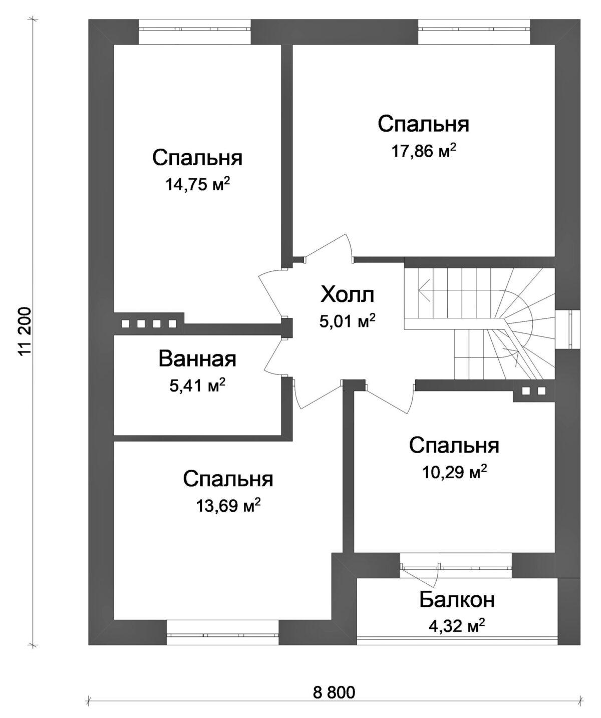 Тайфун B-054. Проект современного мансардного коттеджа на 4 спальни, с кабинетом
