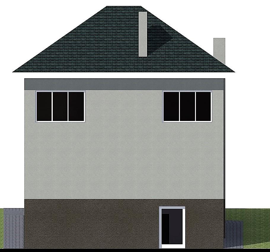 Тень Ангела C-258. Проект двухэтажного дома с цоколем для участка со склоном
