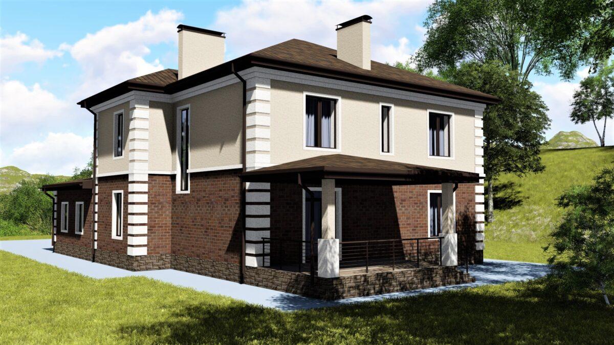 Тирелл E-005 с видеообзором. Проект двухэтажного дома с пристроенным гаражом и террасой, на 5 спален