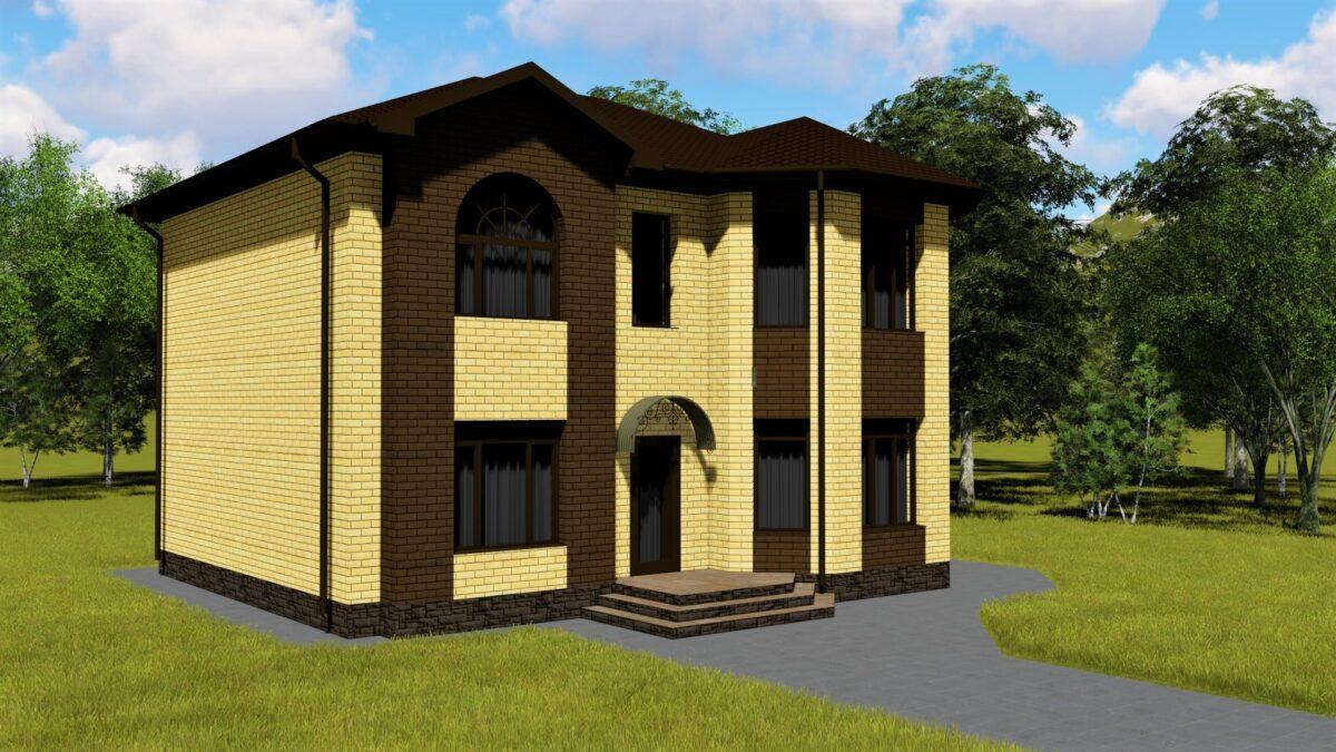 Тодор С-024. Проект двухэтажного дома средней площади на 4 спальни, с террасой