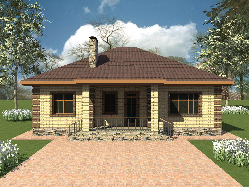 Толедо B-282. Проект одноэтажного дома 13 х 13 м с двумя спальнями и выходом во двор