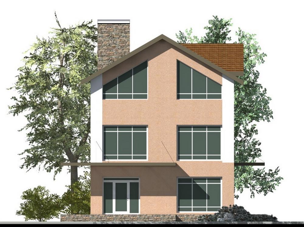 Томас D-115. Проект двухэтажного дома с мансардой, четыре спальни, гостиная, балкон