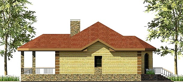 Третий Рим C-255. Проект одноэтажного дома 13 х 17 м с большой террасой