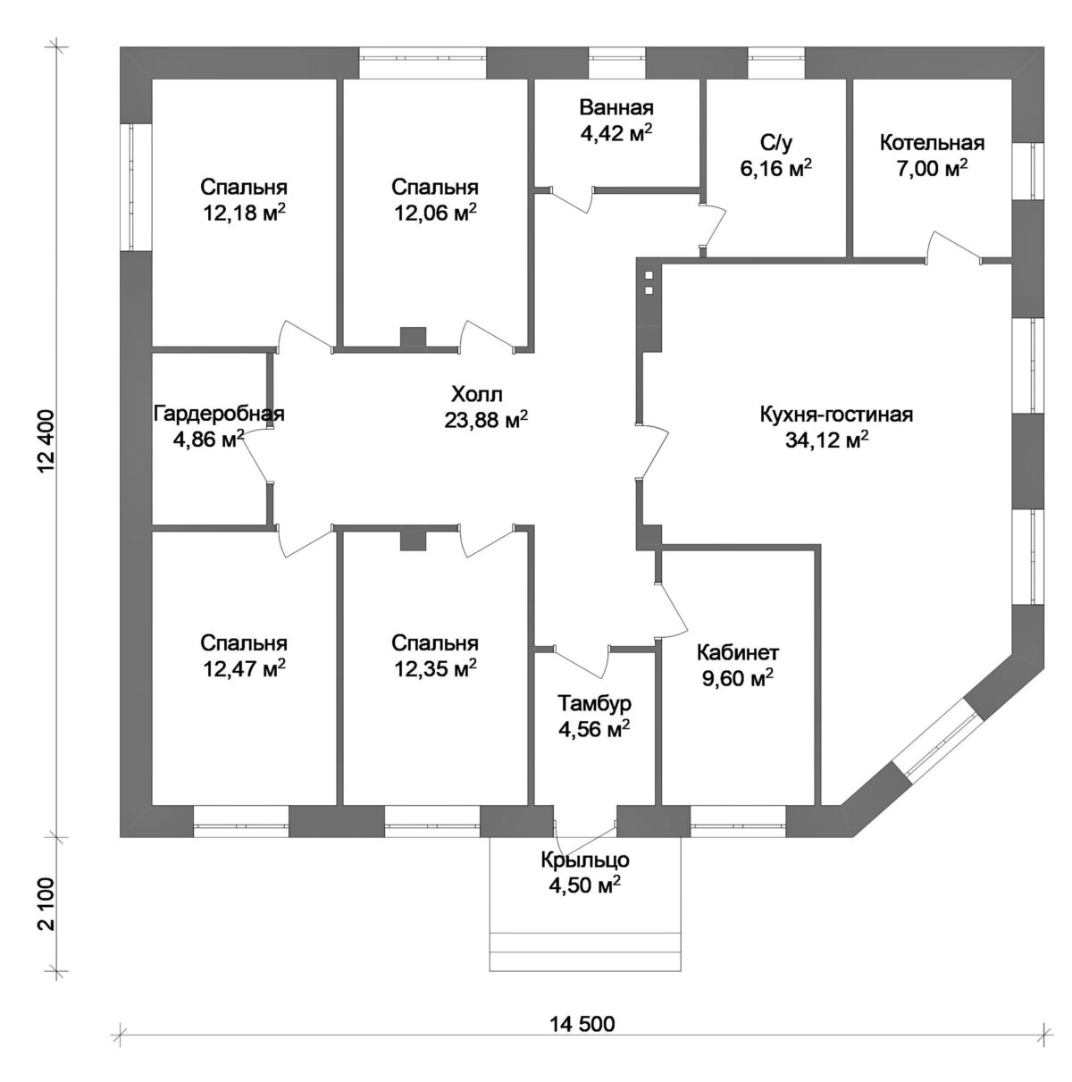 Тристан B-024. Проект квадратного одноэтажного дома на 4 спальни, с кабинетом