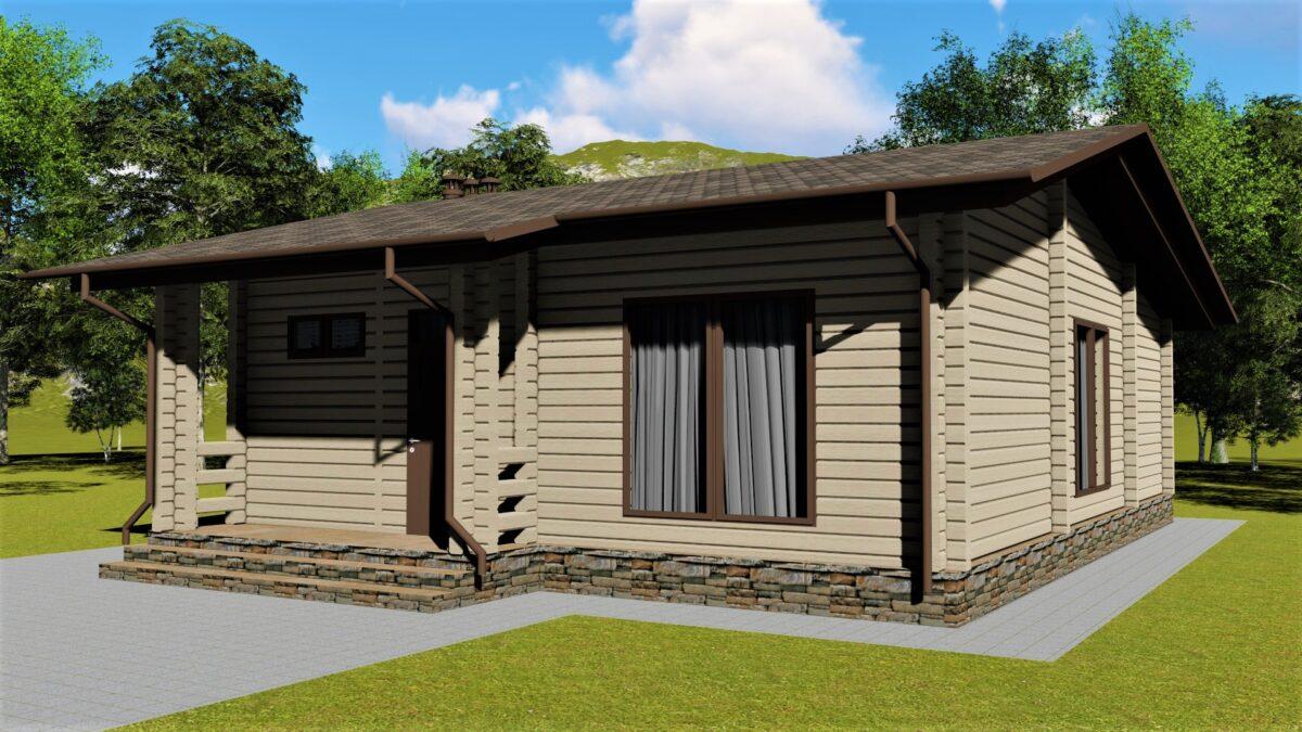 УХТА А-093. Проект одноэтажного дома из бруса на 2 спальни, с террасой