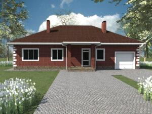 Усадьба C-042. Одноэтажный дом с тремя спальнями, гаражом и террасой