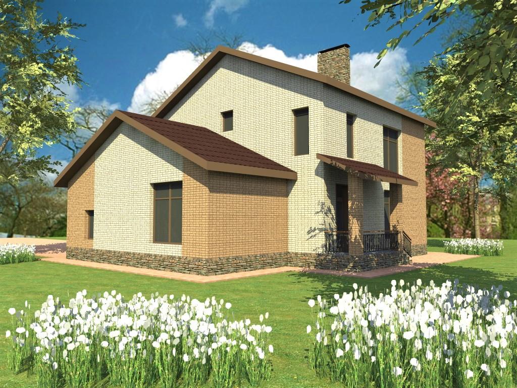 VEGA House D-116. Проект небольшого двухэтажного коттеджа с гаражом, террасой, на 4 спальни