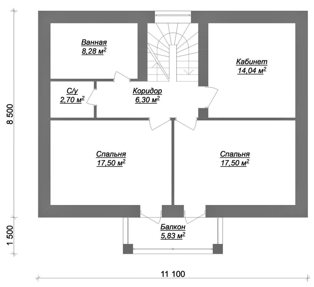Вершина B-047. Проект одноэтажного мансардного дома на две спальни + кабинет, с сауной
