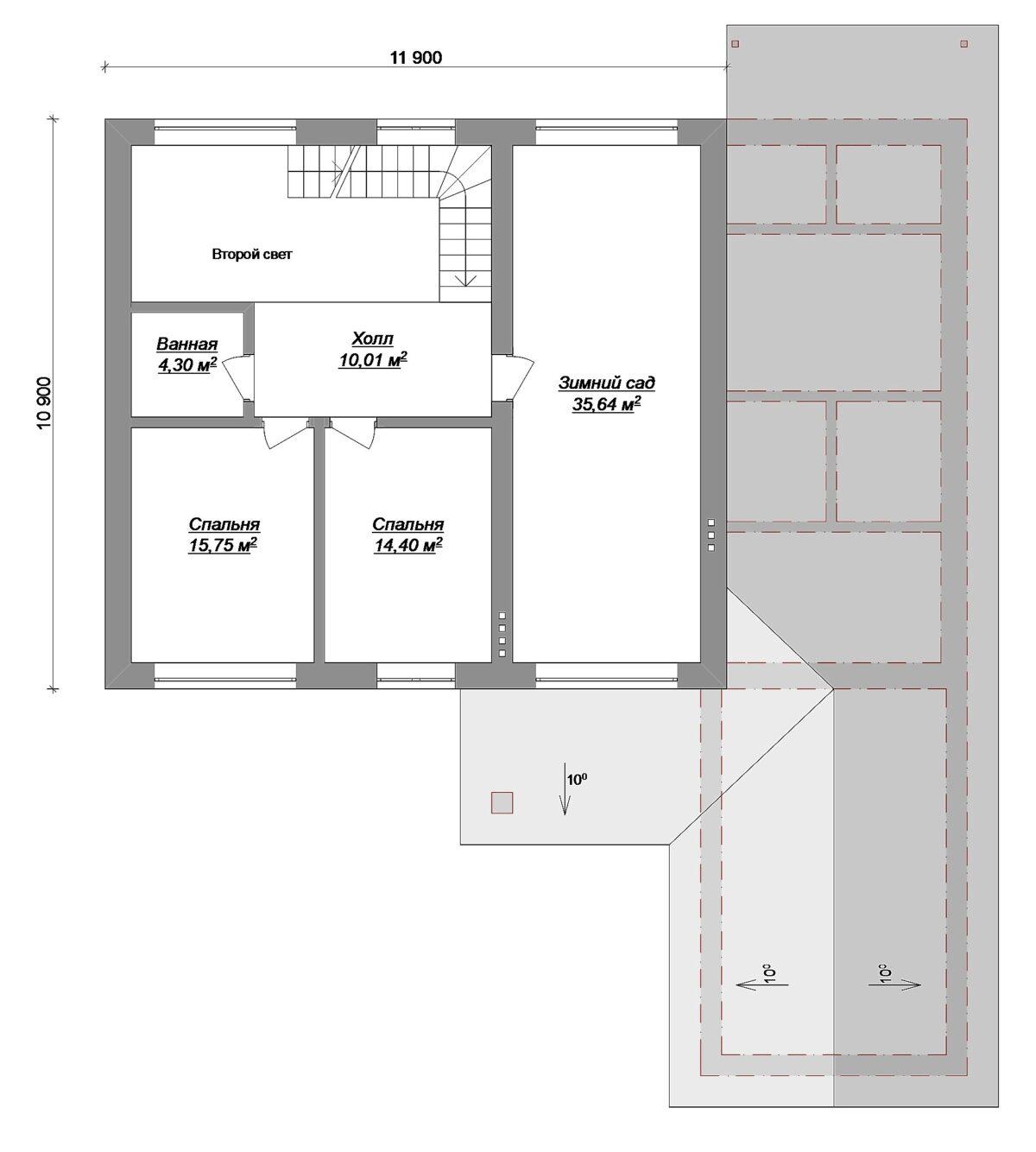 Зеница ока D-117. Проект коттеджа с мансардой, гаражом, зимним садом и вторым светом